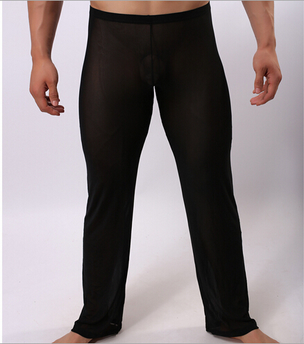 Men's transparent gauze pants sexy men's sexy underwear comfortable loose casual male pajama pants at home