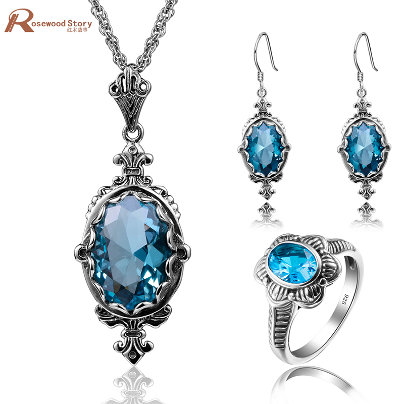 Luxury Genuine 925 Set Fine Sterling Silver Jewelry Wedding Accessories Vintage Anquamarine African Bridal Gemstone Jewerly Set