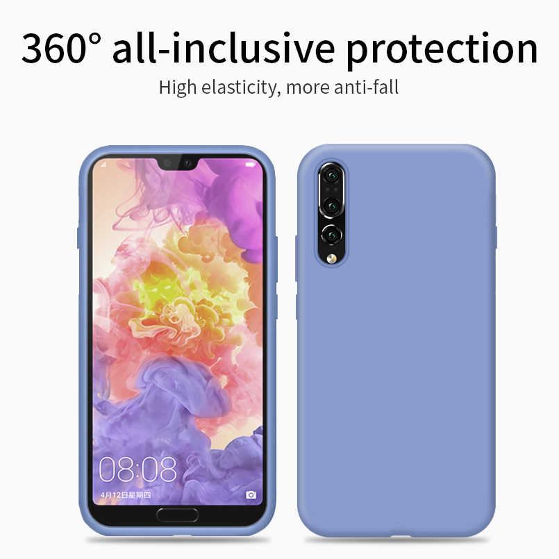 Liquid Silicone Case For Huawei P20 Lite Original Soft Matte Shockproof Bumper For Huawei P30 Pro P20 Mate 20 Lite Y9 2019 Coque