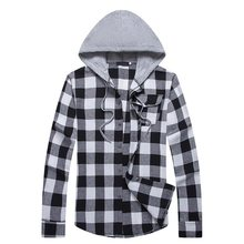 VERTVIE 2018 Autumn New Men's Slim Fit Long Sleeve Hooded Shirts Men Plaid Shirt Male Casual Homme Streetwear M-2XL(China)