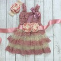 1 компл./лот пыльно-розовый кружева соответствия повязка на голову и створки пояса люкс платье комплект