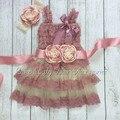 1 set/lote Dusty Pink Lace vestidos a juego de la venda y sash cinturón Luxe vestido conjunto