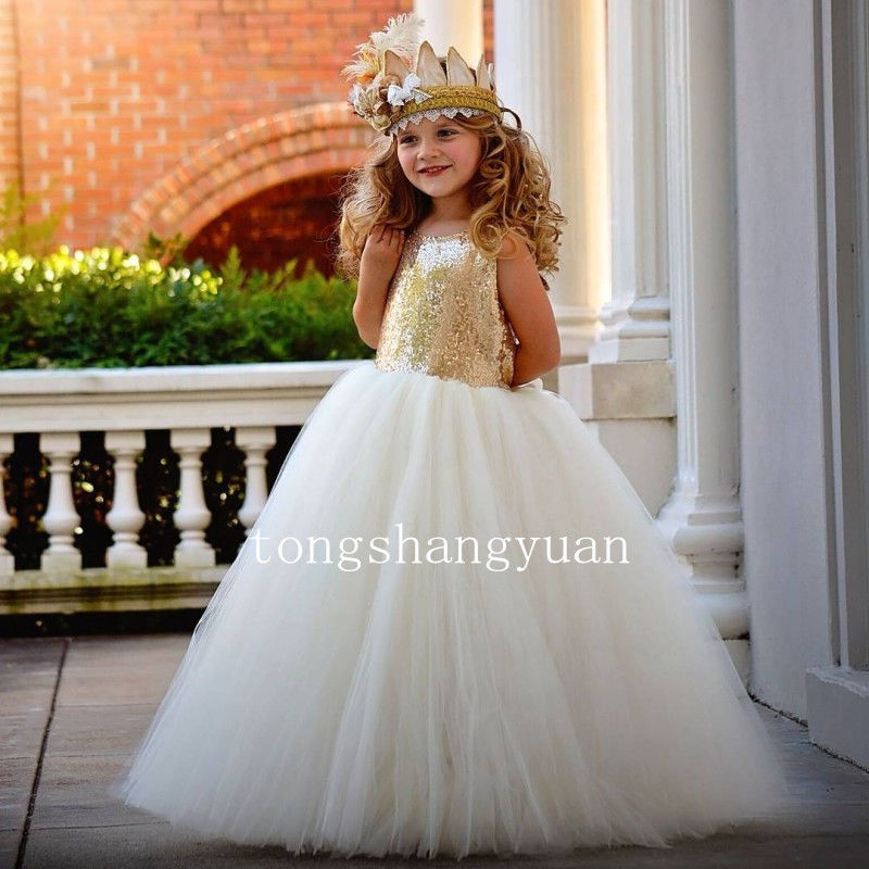 Gold Sequins Flower Girl Dresses Tulle Special Occasion Birthday Prom Gowns 2017