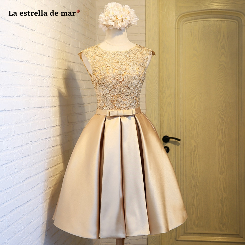 Vestidos para festa de casamento2019 new lace satin A Line champagne gold burgundy pink silver   bridesmaid     dress   short wedding