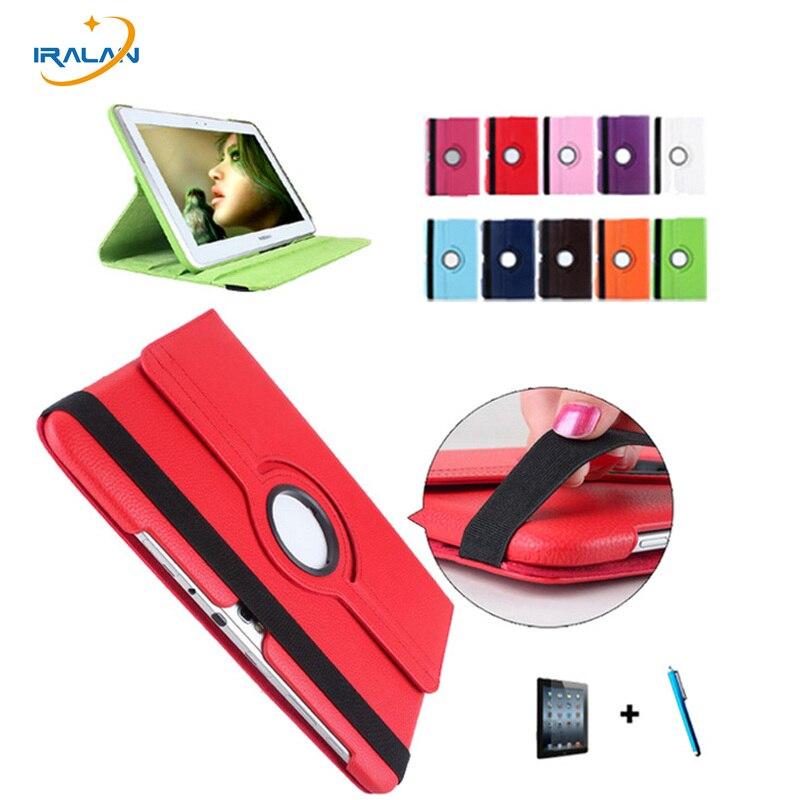 Caso caliente para la Nota 10.1 gt-n8000 n8010 n8020 Tablets 360 rotación pu del soporte del tirón del cuero + de la pantalla protector + stylus
