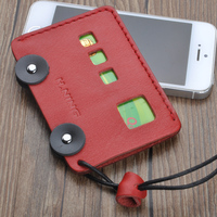 Hand Made Genuine Leather Bank Card Holder Portable String Casual ID Bus Style Identity Badge With