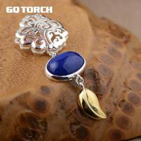 Natural Lapis Pendant 925 Sterling Silver Flower Hollow Design With 18k Gold Plated Leaves Exquisite Women