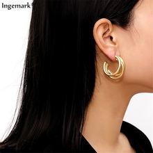 Серьги кольца ingemark в стиле панк золотого цвета модные минималистичные