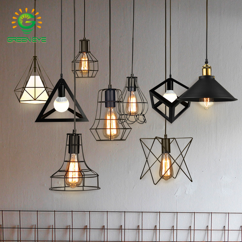 Modern Cage Pendant Light Black Iron Hanging Cage Vintage Led Bulb E27 For Dining Room Restaurant Bar Counter Industrial Loft