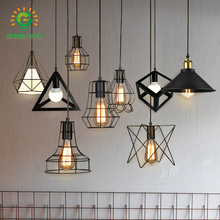 Modern cage Pendant Light Black Iron Hanging Cage Vintage Led Bulb E27 for Dining Room Restaurant Bar Counter Industrial Loft vintage industrial pendant lights modern e27 pendant wrought iron lamp dining room bar shop hanging light