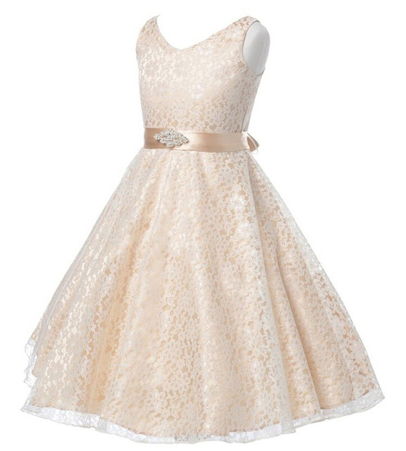 Девушки партия Полный платье дети 2017 лето рукавов кружева девушка принцесса свадебное платье Невесты белый пром платья 7-12y дети