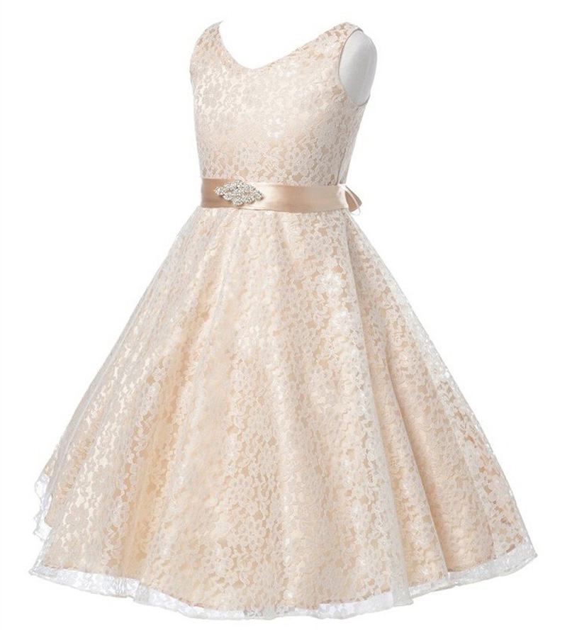 Multicolor girls party Full dress kids 2017 summer sleeveless lace girl princess wedding dress white prom gowns 7 - 12y Children
