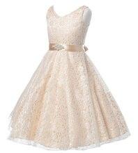 Filles partie usure robe enfants 2015 d'été sans manches en dentelle filles princesse de mariage robe adolescents enfants partie de bal robes 6-12 ans