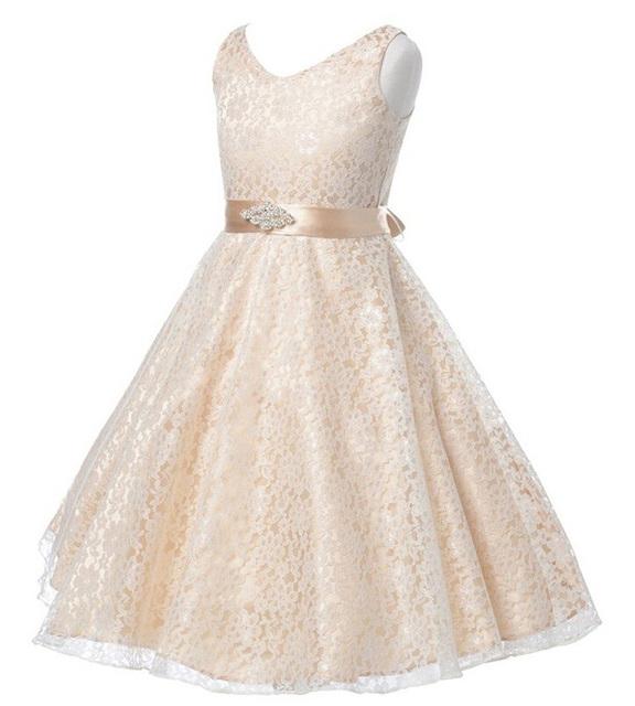 Partido das meninas vestido Cheio crianças 2017 verão sem mangas rendas menina vestido de casamento da princesa Da Dama de honra vestido branco vestidos de baile 7-12y crianças