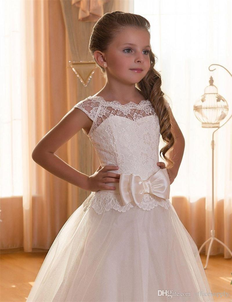 New Arrival Custom Made Long White Appliques O-Neck Bow Tulle   Flower     Girl     Dresses   2016 Ball Gown Kids Gown For Wedding Party