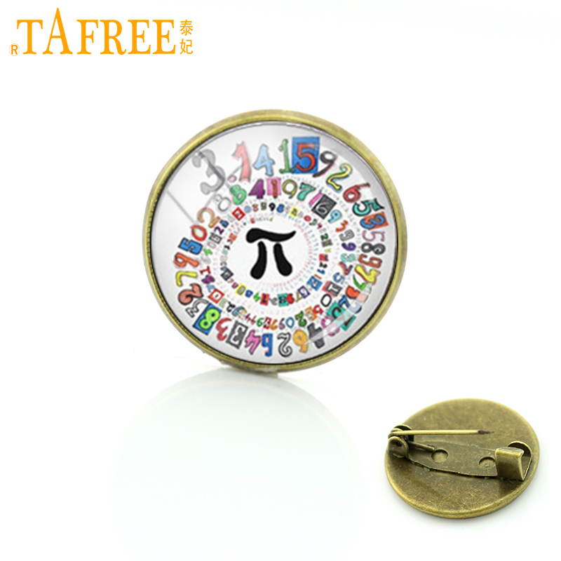 TAFREE Math Pi metal pin vintage Mathematic Symbols alpha beta chemical formula brooches formal wear chinese men badge T763