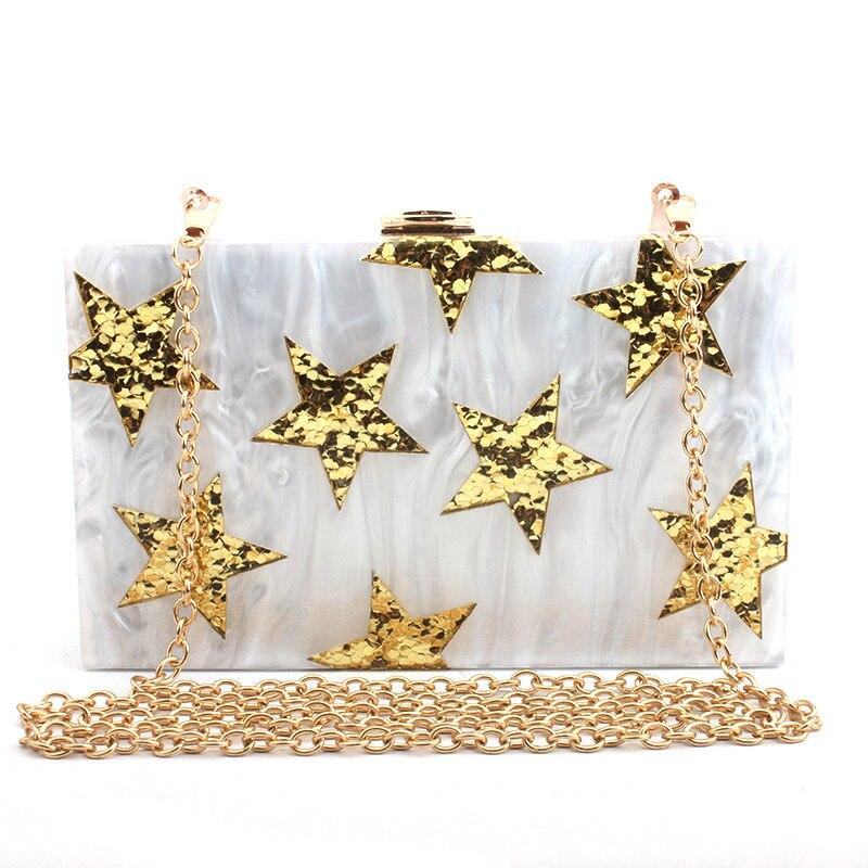 где купить STANCHION 2018 new five-star evening dress bag evening bag acrylic sequins ladies clutch bag make up дешево