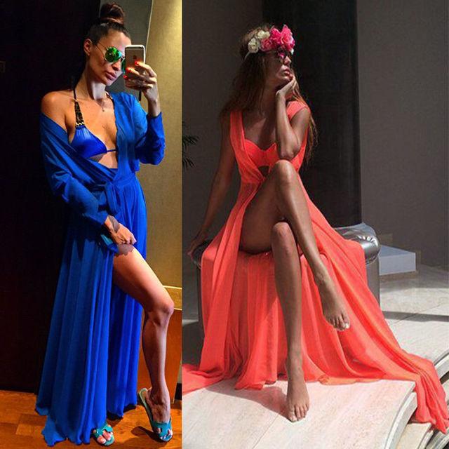 98dd495992 Women Chiffon Bikini Bathing Suit Swimwear Cover Up Beach Long Maxi Dress  Beach Tunic Cover ups Capes Dress