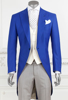 Custom Made Blue Peaked Lapel Men Suits Casual Straight Blazer Tuxedo Tailcoat Wedding Suit Terno Masculino