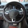 Блестящий пшеничный чехол рулевого колеса автомобиля из натуральной кожи для Volkswagen Golf 6 GTI MK6 VW Polo GTI Scirocco R Passat CC R-Line