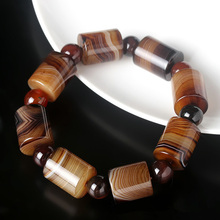 лучшая цена Drop Shipping Jade Jewelry Natural Old Tibetan Agate Bucket Beads Bracelet Amulet Jade Stone Bracelet For Women Men Gift