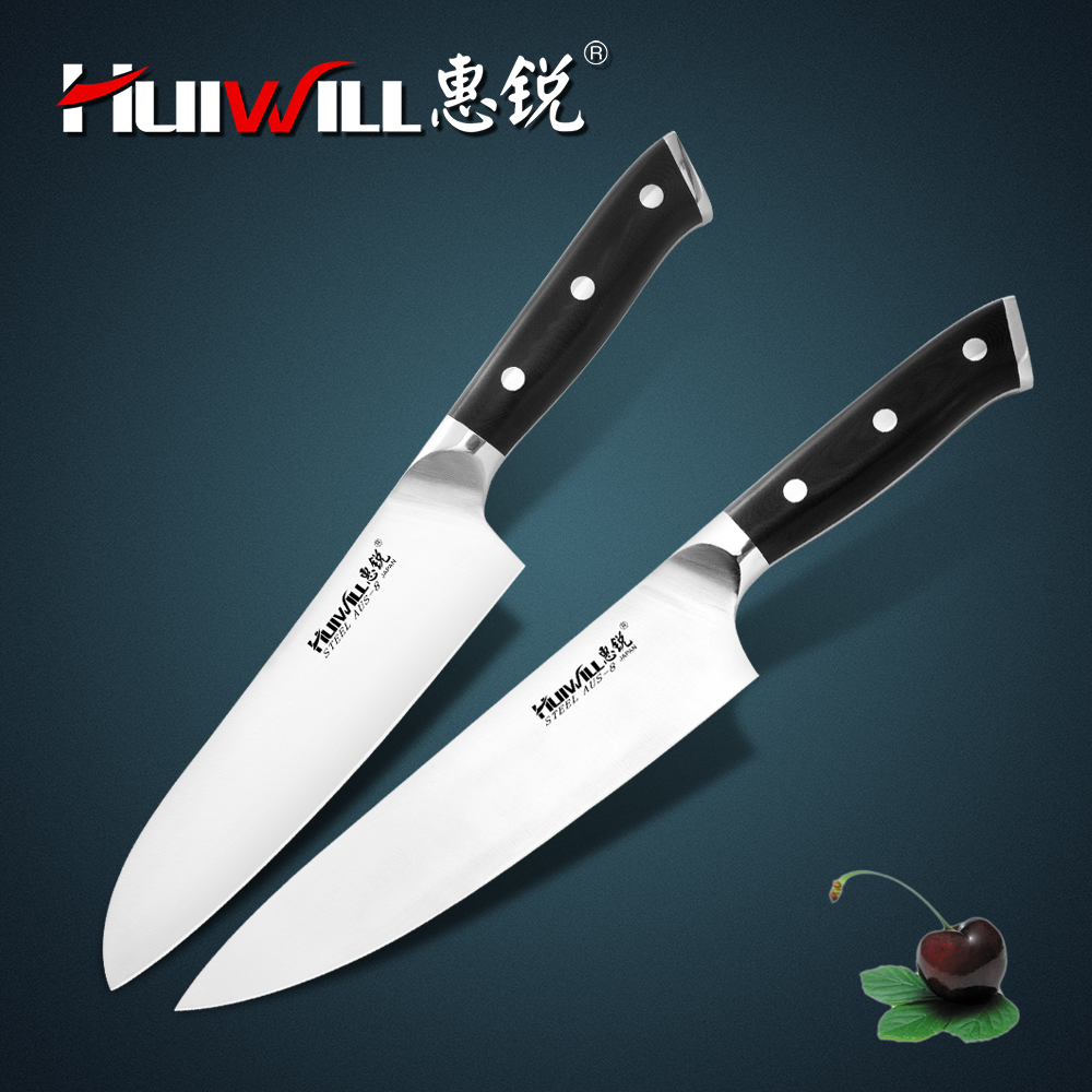 Huiwill Super quality 2pcs Japanese AUS 8 stainless steel kitchen knife set chef slicing paring knife