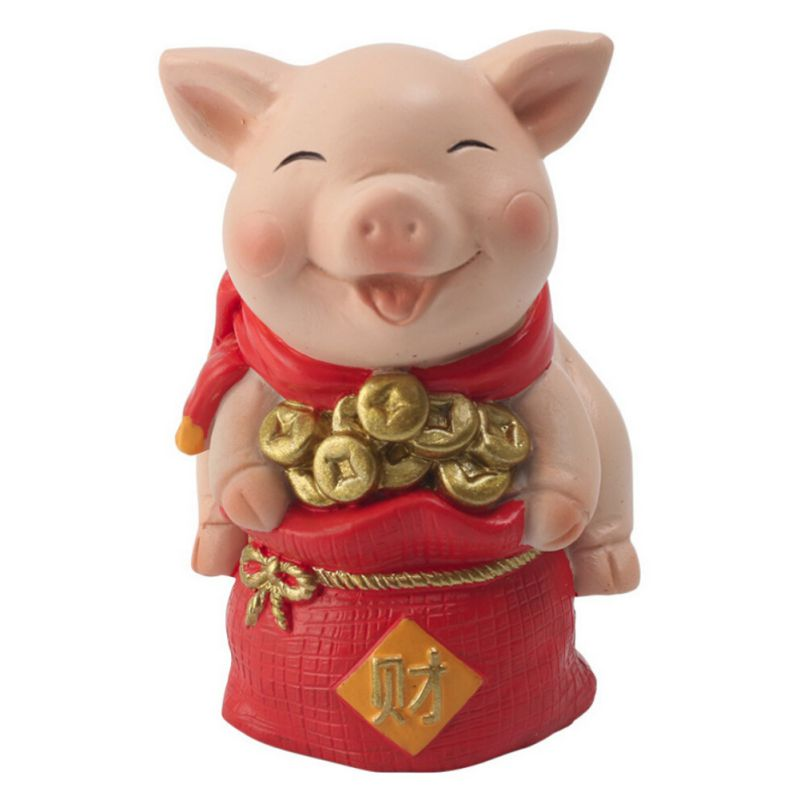 Year Of The Pig Auspicious Decoration New Year Cartoon Resin Desktop Decoration Piglet Gift Chinese Mascot Crafts