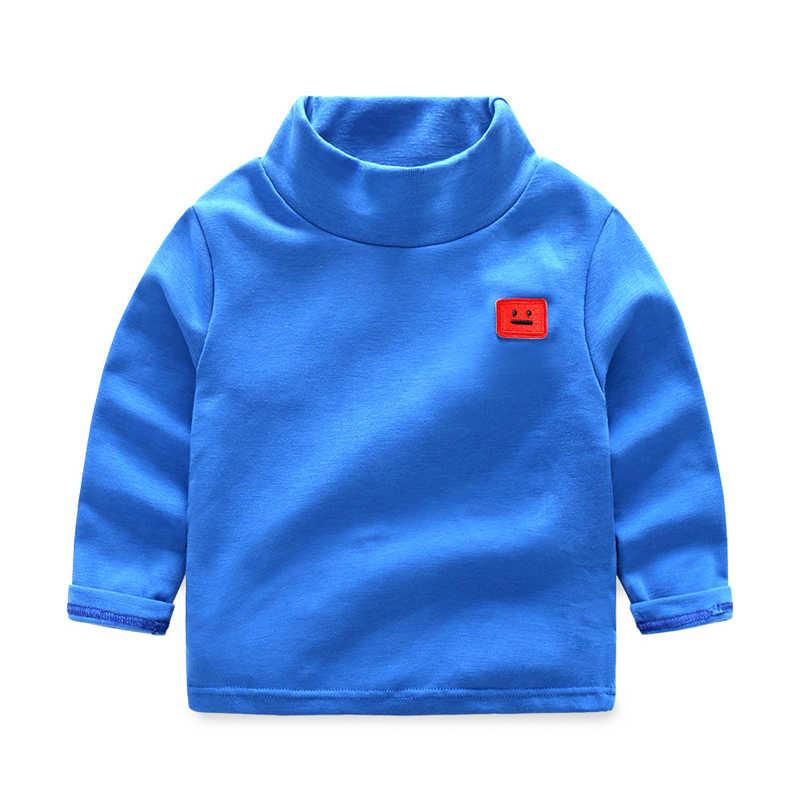 Solid Baby Jongens T-Shirts Herfst Lange Mouwen Coltrui Hoge Kraag Smiley gezicht Borduurwerk Meisjes Dieptepunt Shirt Katoen Kid Top