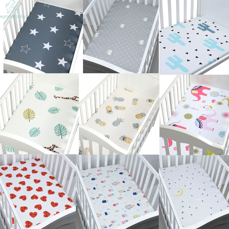 2Pcs 100% Cotton Crib Fitted Sheet Soft Breathable Baby Bed Mattress Cover Protector Cartoon Newborn Bedding For Cot Size 130*70