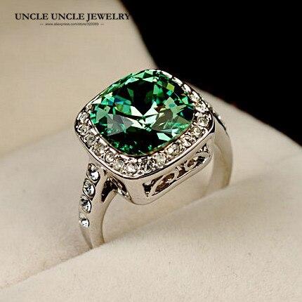 d494a272d5f6 Белое золото Цвет Королевский Дизайн австрийского Хрусталя Площади зеленый  женщина палец кольцо оптовая продажа купить на AliExpress