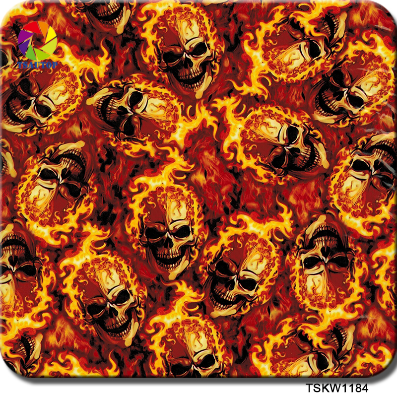 Free Shipping 0.5mX2m Gold Skull Flame Hydrographics Water Transfer TSKW1184 Wtp Film