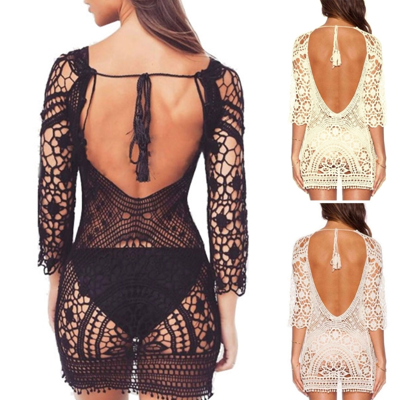 Bathing Suit Cover Up Crochet Lace Swimsuit Hallow Out Long Sleeve