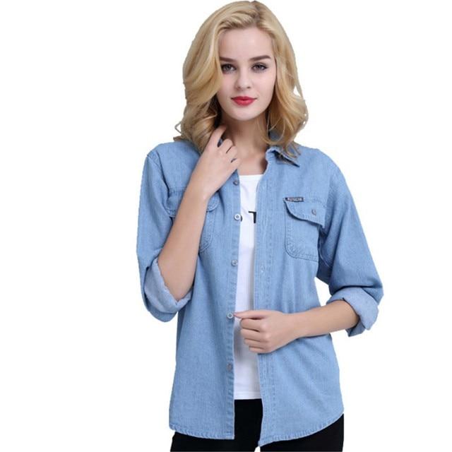 Plus Size Denim Shirt Women Thin Summer Pockets Casual Long Sleeve Jeans Blouse Button Solid Cotton Blusa Bluzki Damskie Ds50601 6