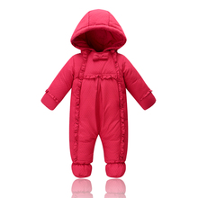 2016 New Winter Outerwear Baby Girls Rompers Duck Down Coat For Newborn Costume Bow Cute Hooded Warm Romper Coat Snowsuit LTY32