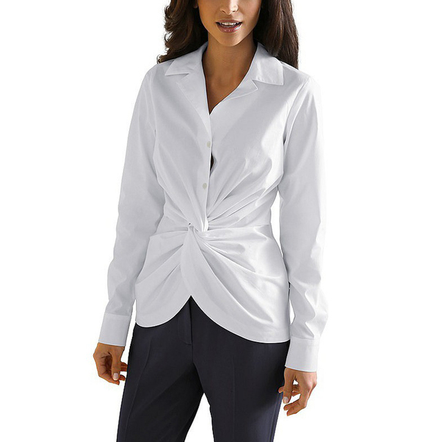 2016 Limited Direct Selling Solid Women Blouses Sexy Pleated Button Sleeve Shirt Plus Size Blouse Casual Slim Blusas Tops 1064