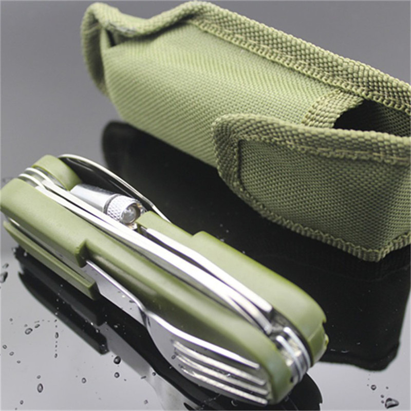 Outdoor Tableware With Led Light Stainless Steel Folding Hiking Camping Tool Dinnerware Fork Spoon Knife Set Bottle Opener