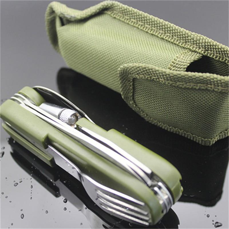 Outdoor Tableware With Led Light Stainless Steel Folding Hiking Camping Tool Dinnerware Fork Spoon Knife Set Bottle Opener