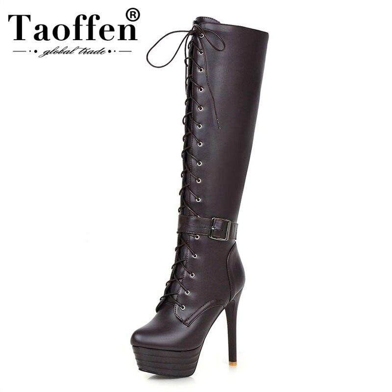 TAOFFEN Plus Size 31 45 Shoes Lace Up Platform 13cm Super Thin High Heels Knee high