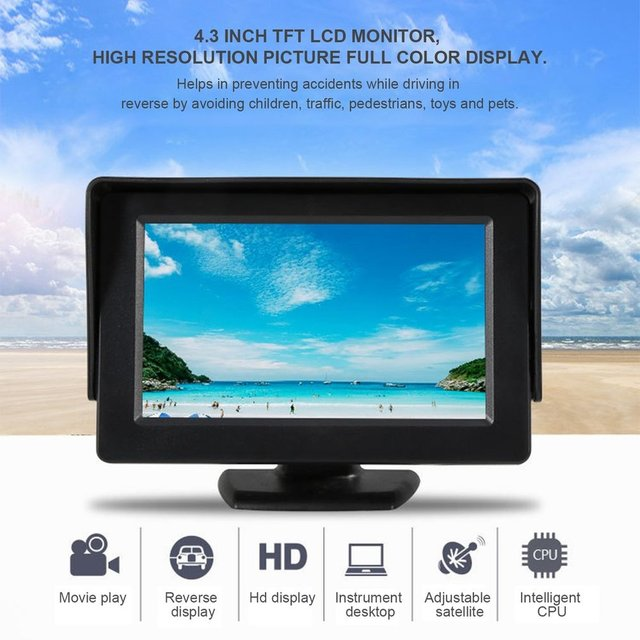 Newest 4.3 Inch 480*272 TFT Car LCD Monitor Rearview Full Color Display 2-channels Video Inputs Visual Reversing