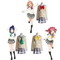 LoveLive! Sunshine Aqours Cosplay Takami Chika Kurosawa Ruby Kanan Matsuura Sailor Suit Love Live School Uniform Tops + Skirt