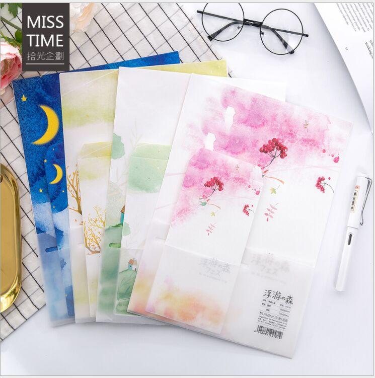 Floating Forest starry sky Letter Envelope 6 sheets letter paper+3 pcs envelope writing paper Stationery storage gift envelope