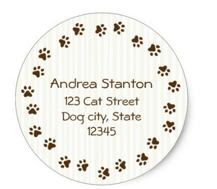 15inch Dog Or Cat Pawprint Circle Address Label Classic Round Stickr In Stationery Sticker From Office School Supplies On Aliexpress