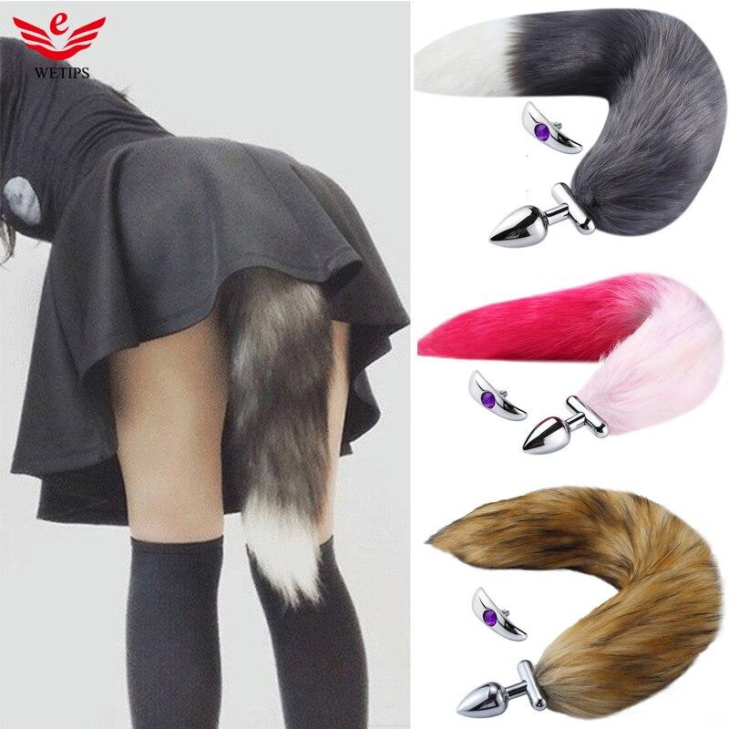 Wetips Foxtail Plug Anal Dilator Enema Tail Plug Butt Cosplay Romance Play Party Anus Expander Bidet Enema Anal Fox Tail Plug