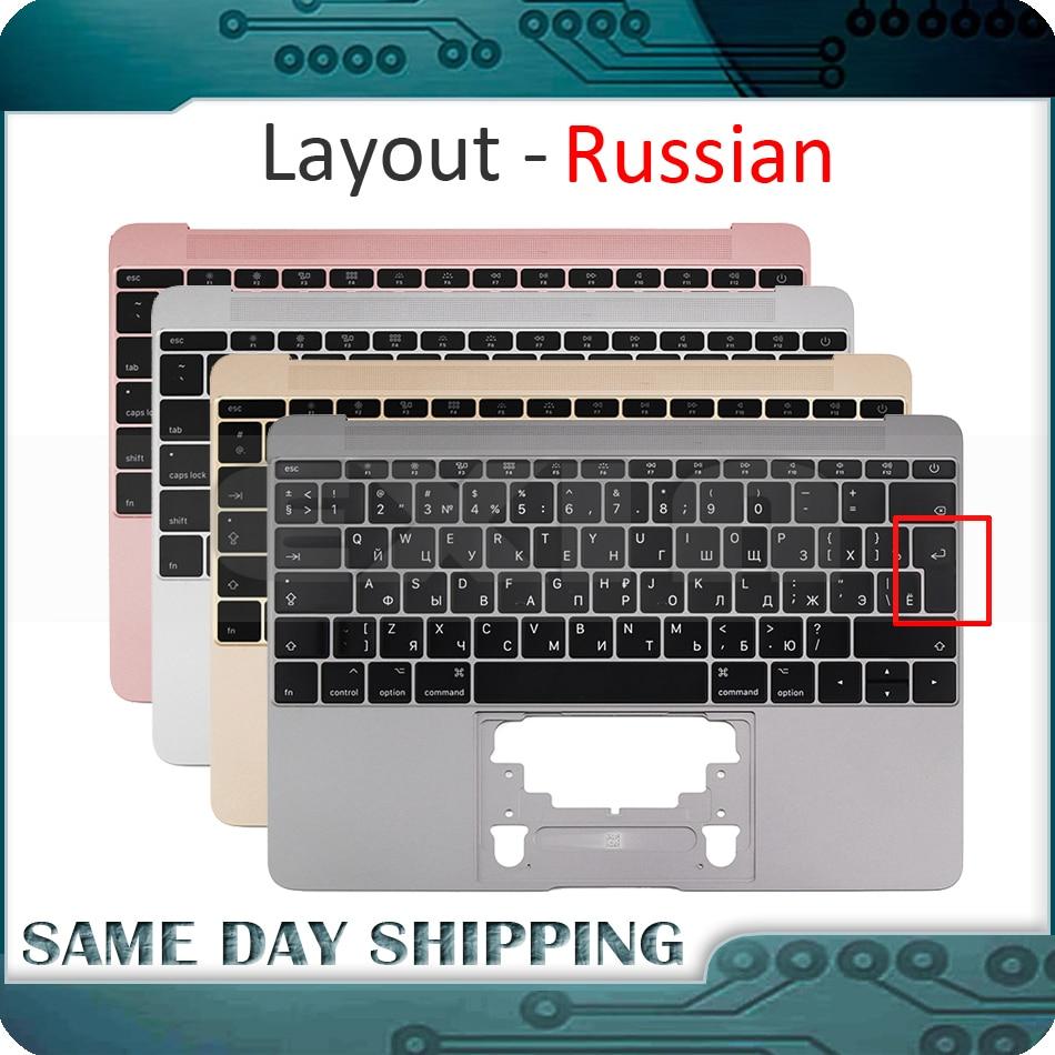 For Macbook 12'' A1534 Russian Russia RU Keyboard w/ Topcase Palm Rest Top Case 2015-2017 Gold/Gray/Silver/Rose Gold Color brand new gold topcase for macbook 12 a1534 top case no keyboard 2016