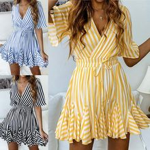 2019 Hot Fashion Women Summer Striped Dress Deep V Neck Short Sleeves Irregular Hem Casual Dress OH66
