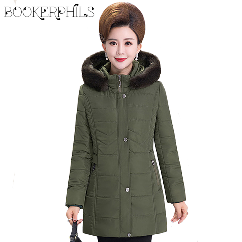 2017 Warm Thick Middle-aged Plus Size Women Winter Jackets Fur Collar Long Outerwear Female Coat High Quality Autumn Parka 5XL xl 5xl winter coat women plus size middle aged mother cotton padded clothes casual hooded solid long sleeve parka thick a4263