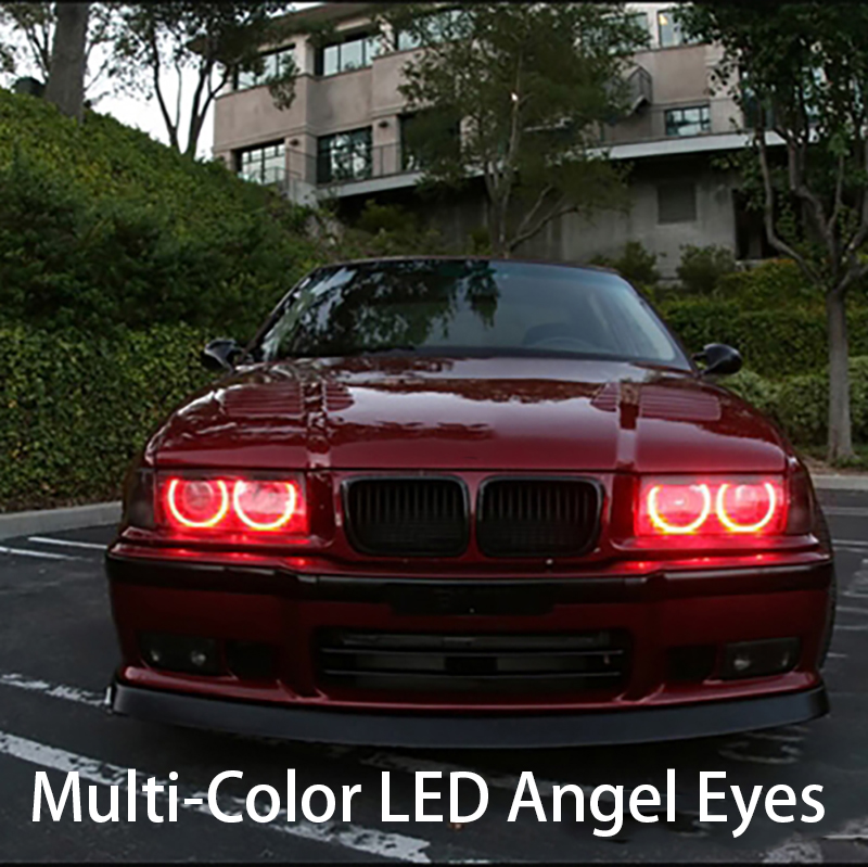 HochiTech Ultra bright 5050 SMD Multi-Color RGB LED Angel Eyes Kit with remote control for BMW 3 Series E36 1990-00 car styling 4pcs for bmw e46 3 5 7 series rgb 2 131mm 2x146mm multi color rgb 5050 flash led car angel eyes headlight ring