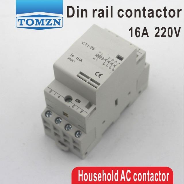 CT1 4P 16A 2NC 2NO 220V/230V 50/60HZ Din rail Household ac Modular contactor