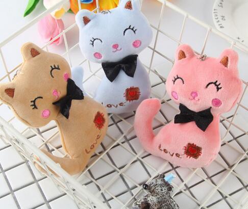 3Colors , Little Size 8CM NEW Cat Plush , Animal Stuffed Kitty Cat Key chain TOY, Kid's Party Plush TOY , Bouquet Plush Dolls