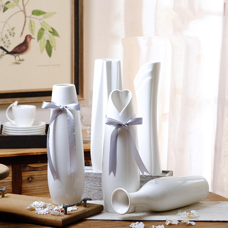 Modern Stylish Geometric Ceramic Vase Creative White Flower Decor Wedding Fashion MattVase